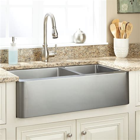 Black Stainless Steel Farmhouse Sink by 36 Quot Hazelton 60 40 Offset Bowl Stainless Steel