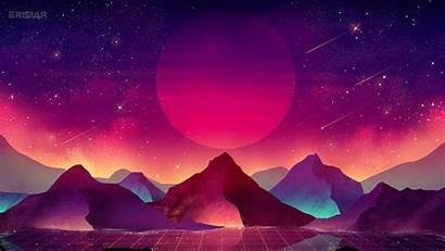 Vaporwave 4k Wallpapers Moon Landscape Terrain Mountain