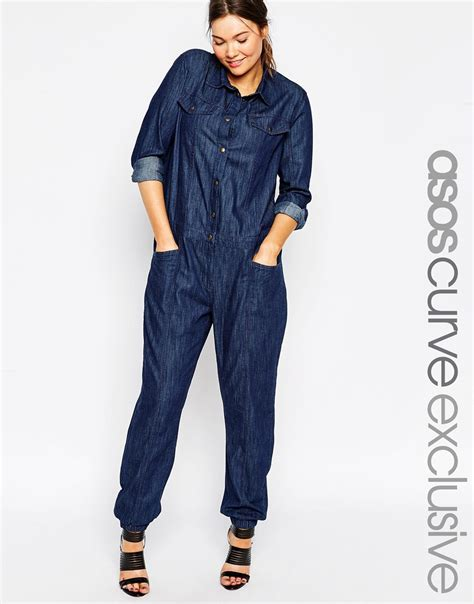 plus size denim jumpsuits asos curve denim jumpsuit in blue lyst