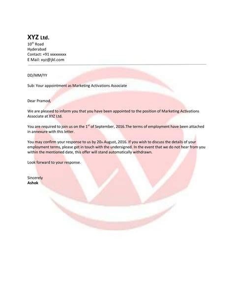 appointment sample letter format  letter format