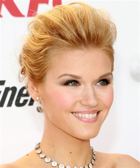 emily rose formal long straight updo hairstyle golden