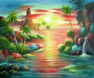 Tableau Peinture Sur Toile : peinture sur toile coucher de soleil aux antilles tableau peint ~ Teatrodelosmanantiales.com Idées de Décoration