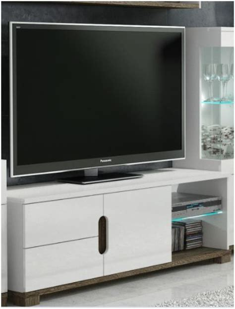 White Gloss TV Display Unit With Lights ? TV Cabinets