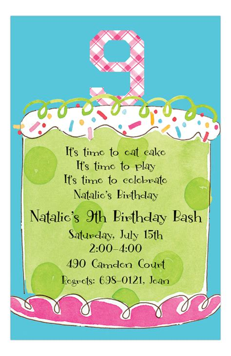 Boys 9th Birthday Invitation Wording