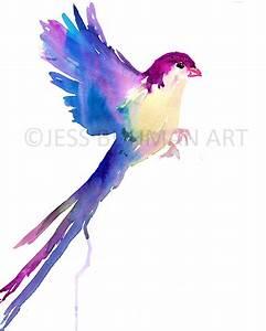 Watercolor Bird Print Abstract Bird Art Colorful Bird Print