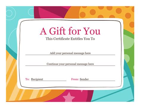 Birthday Gift Certificate Template by Certificates Office