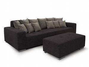 Big Sofa Grau : ariba 3 big sofa couch schwarz grau ~ Buech-reservation.com Haus und Dekorationen