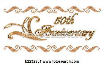 Clipart Of Wedding Invitation Border Gold 50th K2232951