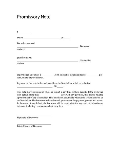free promissory note template word 45 free promissory note templates forms word pdf template lab