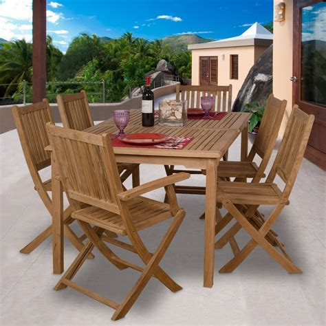 outdoor furniture tables only shop international home amazonia rotterdam 7 piece teak