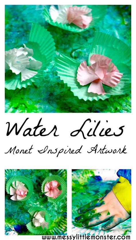 claude monet inspired water lilies painting  kids
