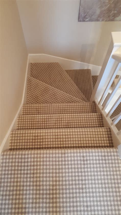 Brintons Padstow Gingham Carpet colour Pebble fitted to