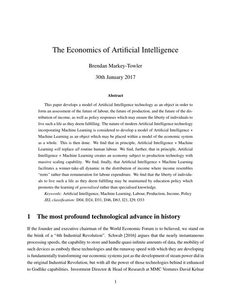 (PDF) The Economics of Artificial Intelligence