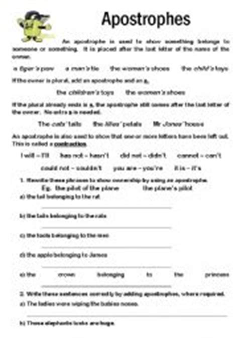 English Worksheets Apostrophes