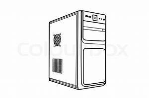 Drawing computer system unit on a white background | Stock ...