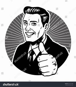 Retro Illustration Man Thumb Stock Vector 256255489 ...