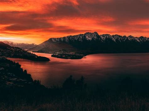 zealand orange mountain sunset wallpaper hd city