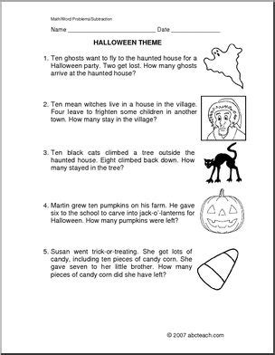 word problems halloween subtraction primary abcteach