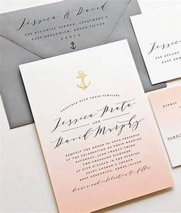 new jessica coral ombre nautical wedding invitation sample With foil stamped wedding invitations melbourne