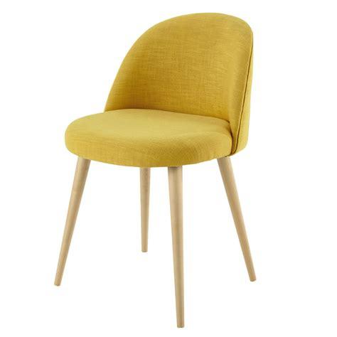 chaises maisons du monde chaise vintage en tissu et bouleau massif jaune mauricette