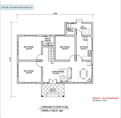 home plan com kerala style single floor house plan 1155 sq ft