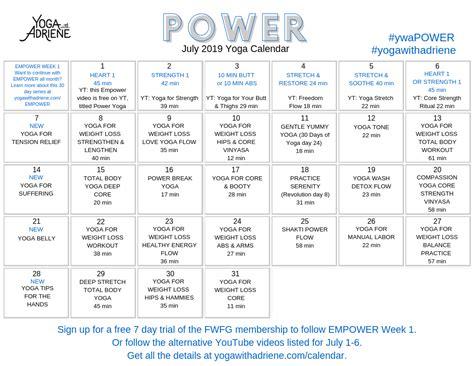 calendar yoga adriene