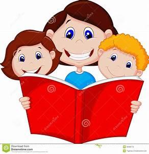 Cartoon Mother Reading Book To Her Children Stock ...