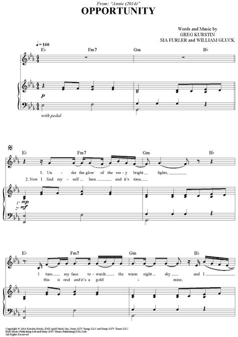 """Annie 2014 hard knock life song hd. Buy """"Opportunity"""" Sheet Music for Piano/Vocal/Chords"""