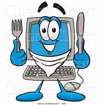 Computer Cartoon Knife Character Clipart Fork Desktop