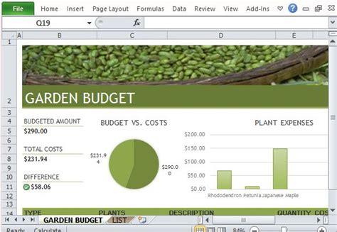 budget  garden  landscaping template  excel
