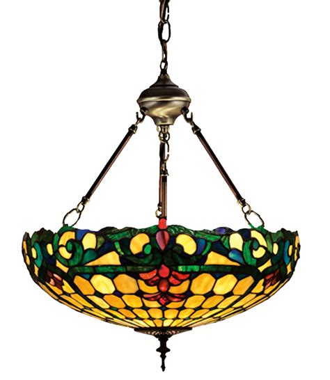 stained glass inverted pendant light meyda 26694 tiffany duffner kimberly inverted pendant