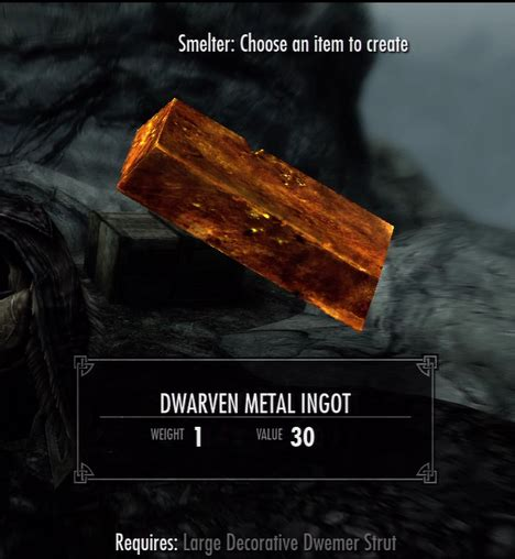 large decorative dwemer strut dwarven metal ingot the elder scrolls v skyrim wiki