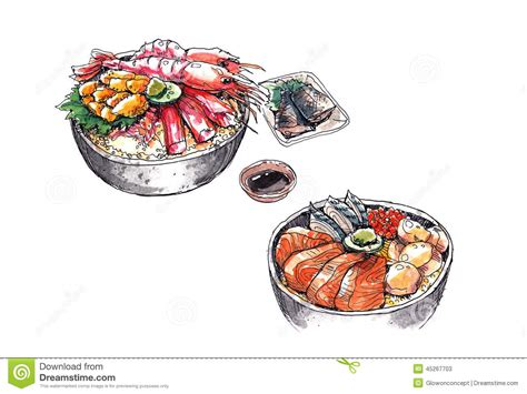 illustration cuisine hokkaido seafood japanese food watercolor illustration