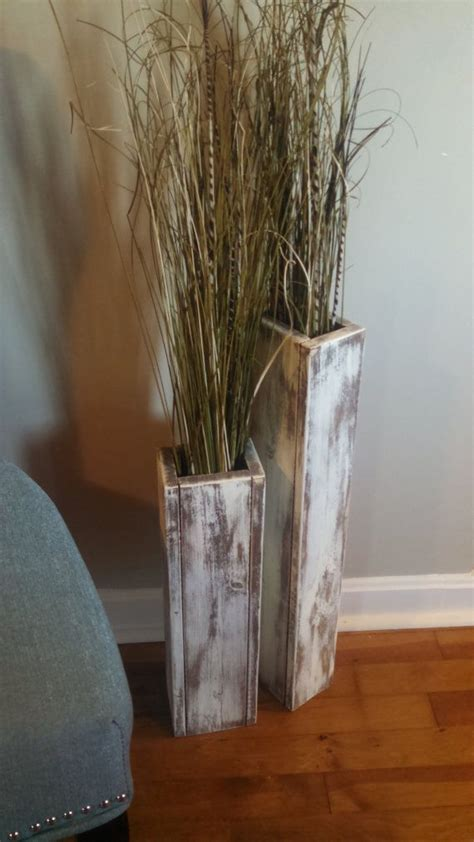 Decor Vase by Set Of Two Rustic Wood Floor Vases 24 Quot And 18 Quot Wedding