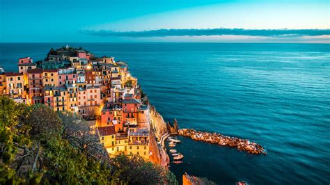 italy ocean coast cliff port night view preview