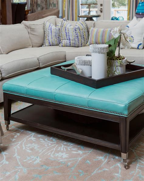 teal ottoman coffee table details of sectional turquoise leather ottoman