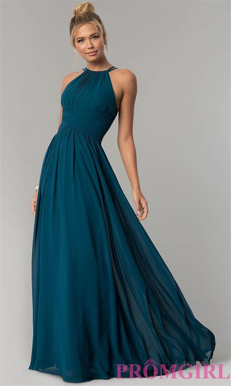 chiffon high neck ruched prom dress promgirl