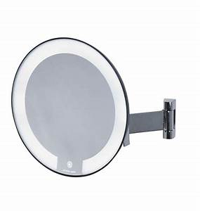 Miroir Rond Lumineux : miroir grossissant lumineux rond jvd cosmos noir bras plat ~ Zukunftsfamilie.com Idées de Décoration