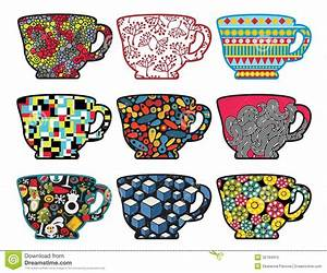 Set Of Tea Cups With Cool Patterns  Royalty Free Stock