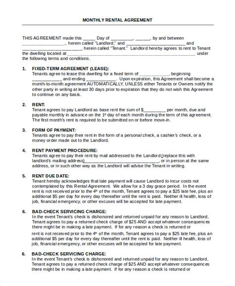house rental agreement  word  documents