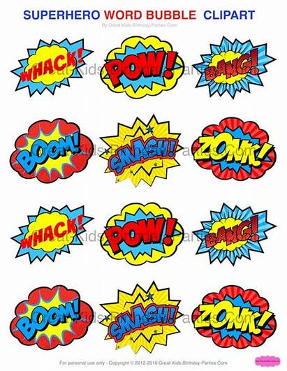 Superhero Stickers Clipart Printables Party Word Bubbles