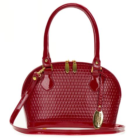 giordano italian  red patent embossed leather small