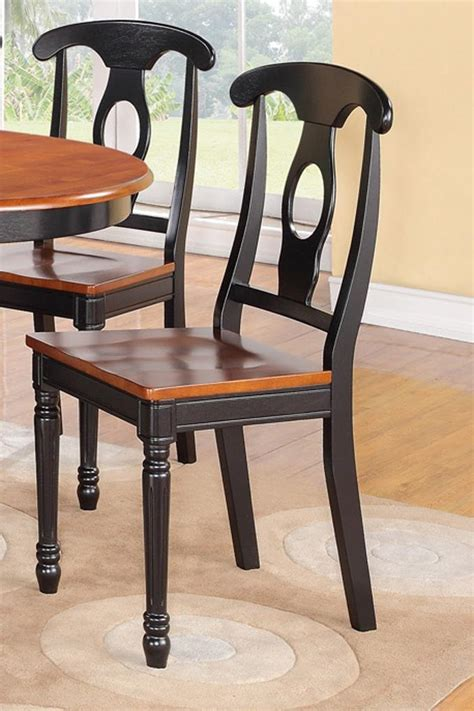 set of 4 kitchen dining chairs with plain wood seat in