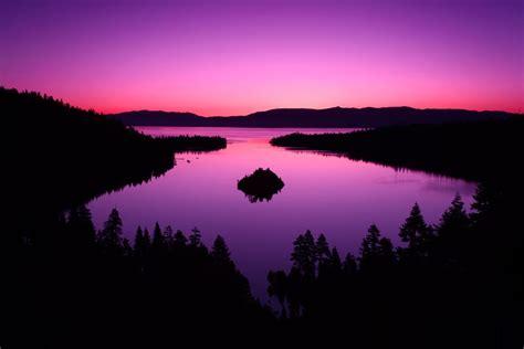 emerald bay tahoe lake california sunrise  purple
