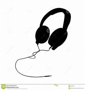 Headphones clipart silhouette - Pencil and in color ...
