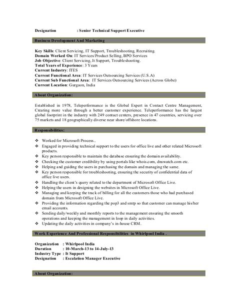 Technical Support Resume by Customer Support Executive Resume