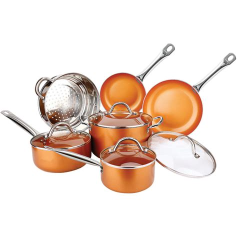 copper  pc  purpose  stick ceramic cookware set  copper  fleet farm