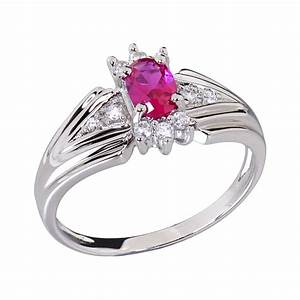 oval synthetic ruby solitaire w accents sterling silver With ruby wedding rings for women