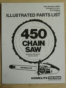 Homelite 450 Chain Saw Parts Manual Part  24897 Models 450