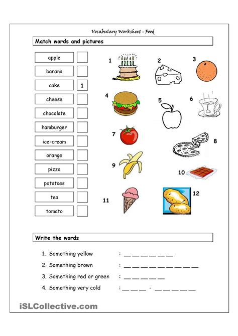 vocabulary matching worksheet food for